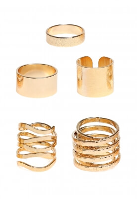 TANGLED AND STRAIGHT RING SET IN GOLD