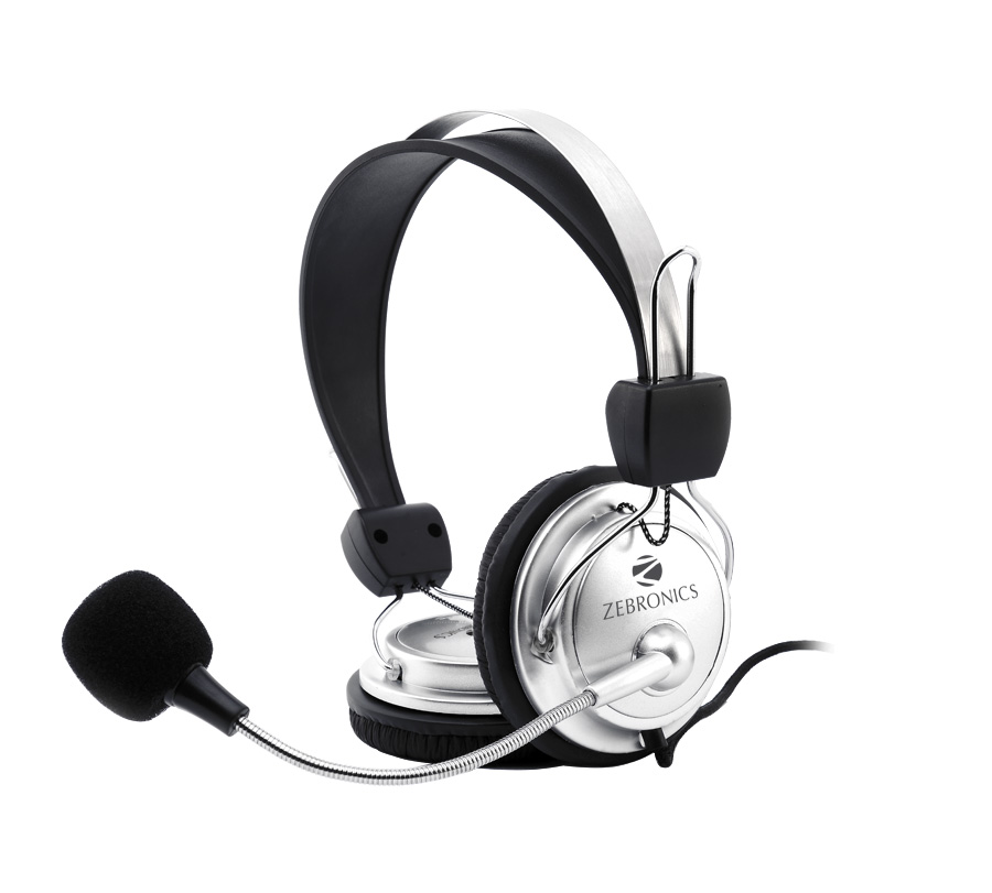 Zebronics Headphone ZEB-1001HMV (Silver)