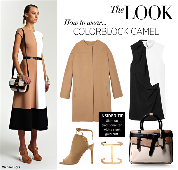 how to wear... colorblock camel