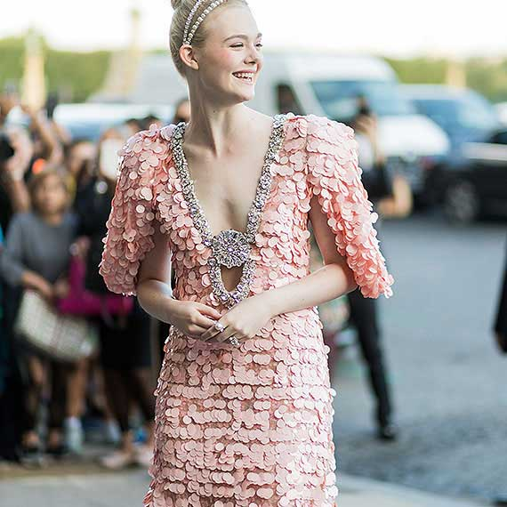 Street Style Model in Pink Dress