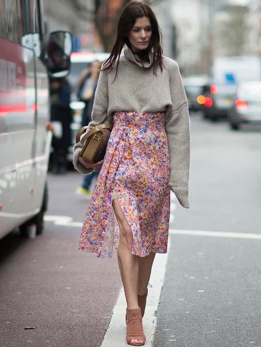 Model in pink skirt