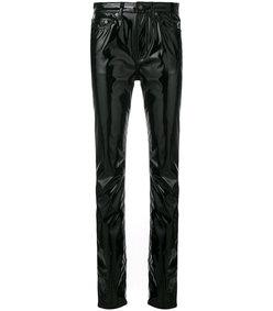 black mid-rise vinyl jeans