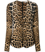 leopard print gathered blouse