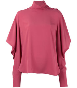 pink long sleeve mockneck blouse