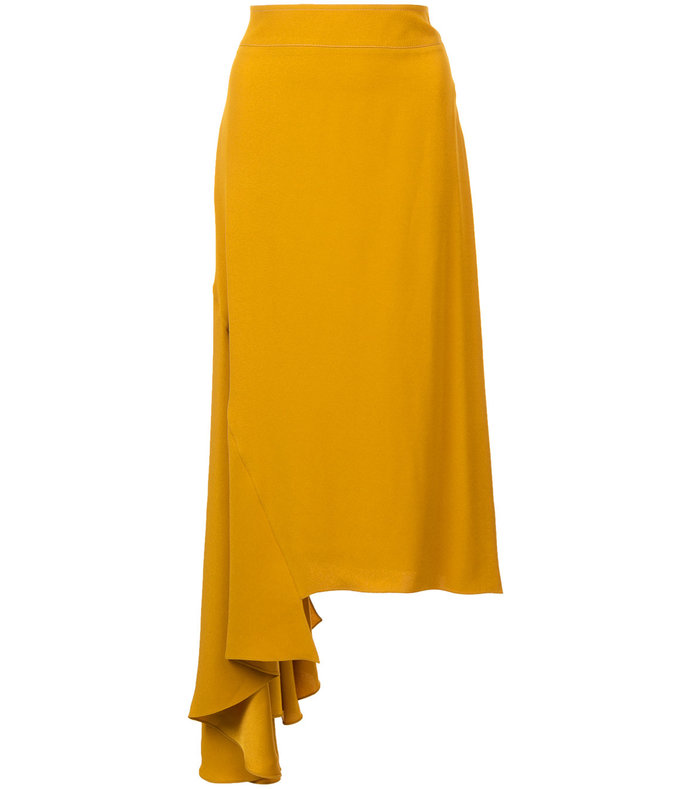 yellow asymmetric ruffled skirt