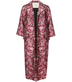 multicolor opera floral jacquard coat