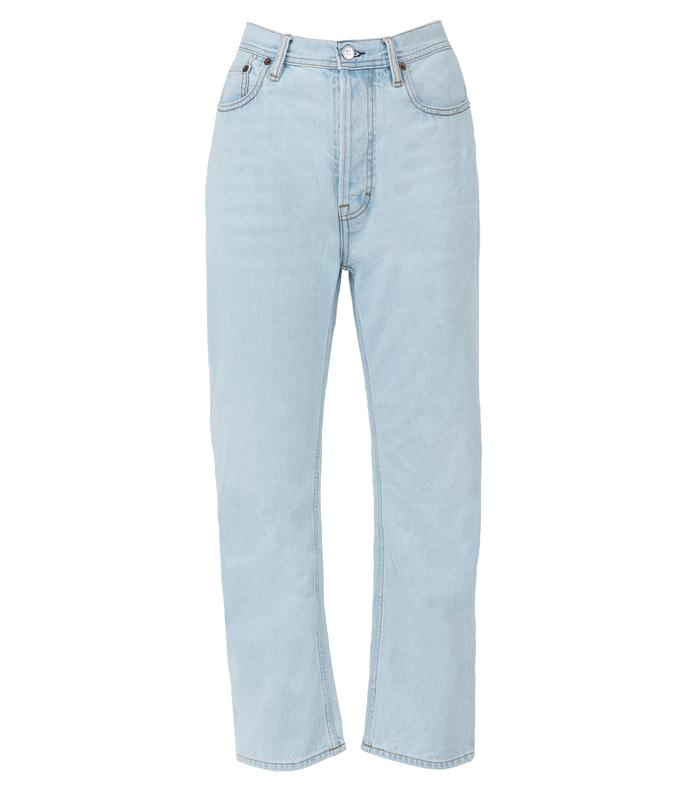 blue log jeans