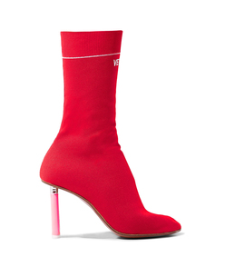 red sock ankle boots