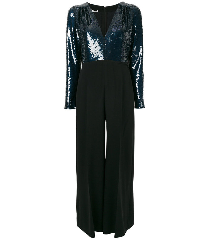 black sequined bodice jumpsuit