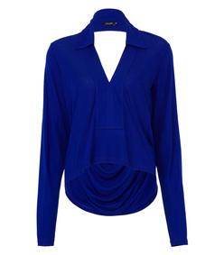 blue cutout draped stretch-jersey top