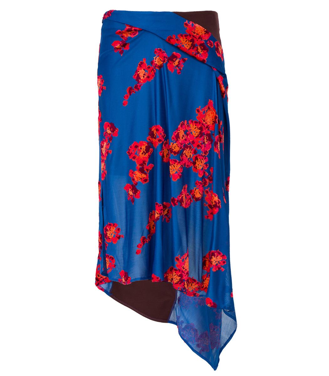 Atlein Blue Jacquard Jersey Asymmetrical Skirt