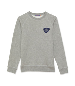 grey lonely hearts club badge flock sweatshirt