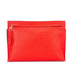 red embossed logo clutch