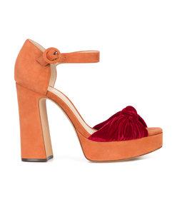 orange bow front sandals