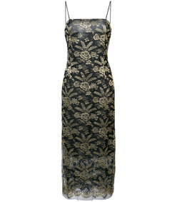 gold embroidered fitted midi dress