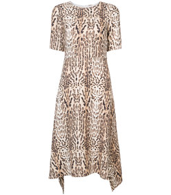 brown ocelot printed midi dress