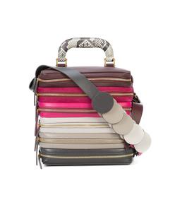 pink multicolor six zip stack top handle bag