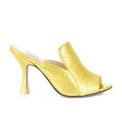 yellow crocodile effect open toe mules