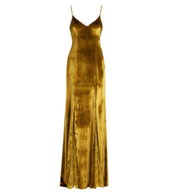 gold lace-panelled velvet gown