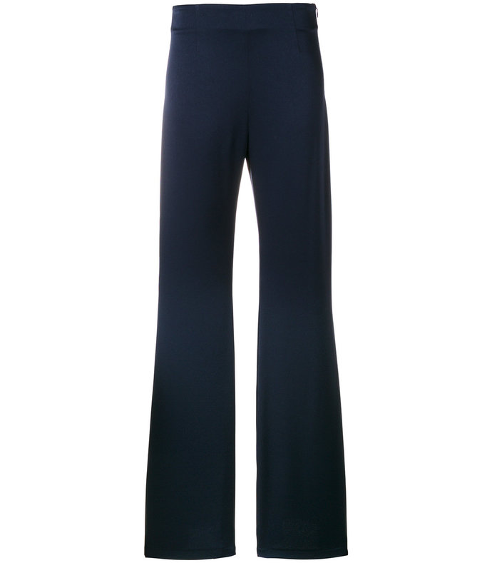 blue high-waisted flared trousers