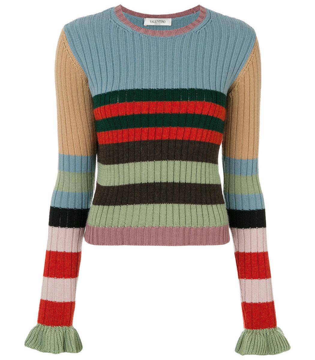 Valentino Striped Sweater - Multicolor Cashmere Sweater