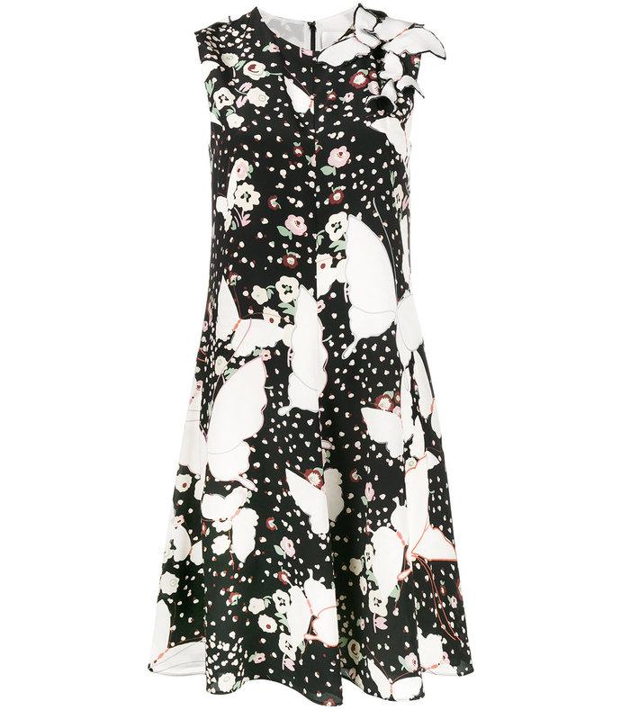 black/white pop butterflies print dress