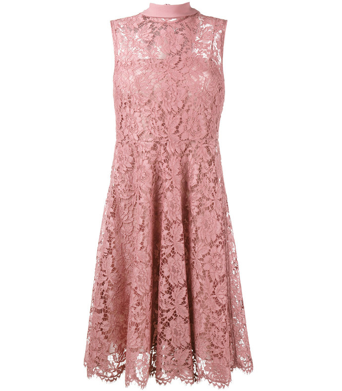 pink lace embroidered flared dress