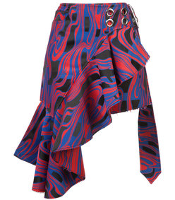 multicolor pleated asymmetric skirt