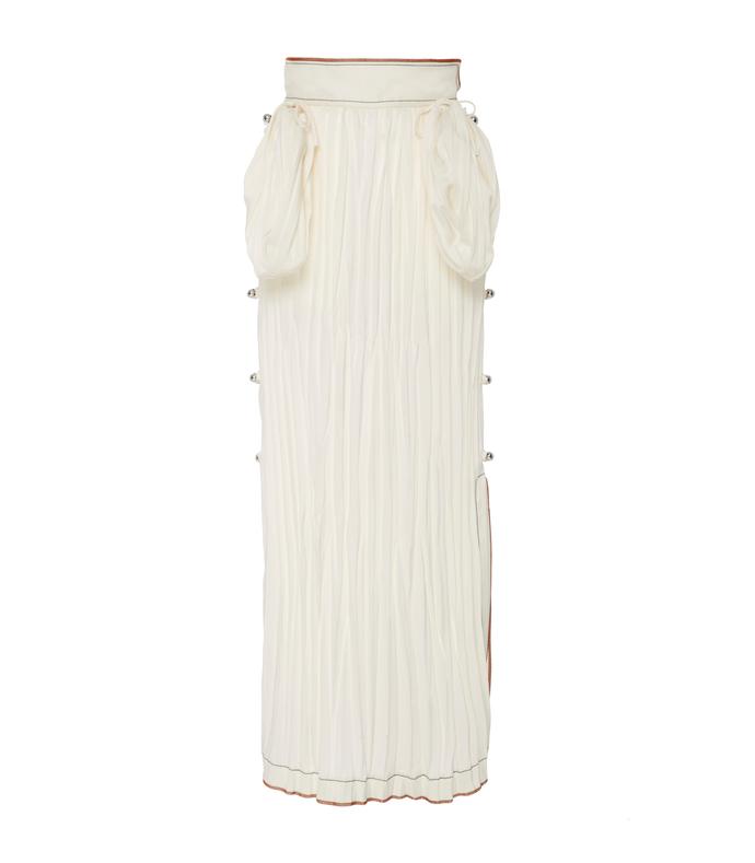 white crinkled satin midi skirt