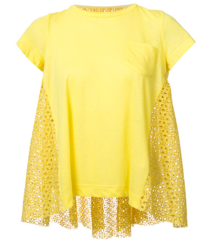 yellow lace crossover-back t-shirt