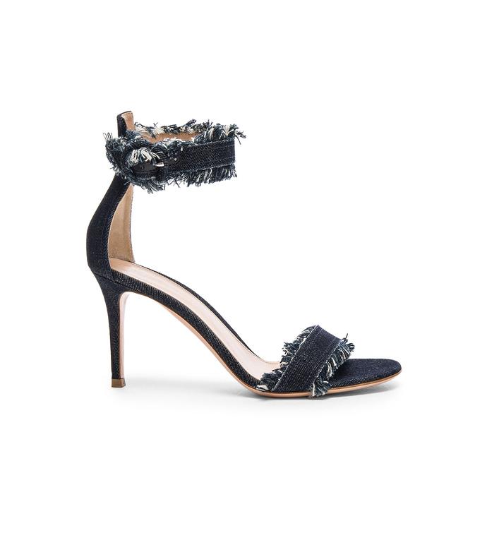 frayed denim sandal