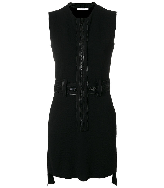 black zipped fitted dress