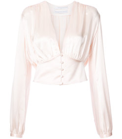 pink silk satin tie-back blouse