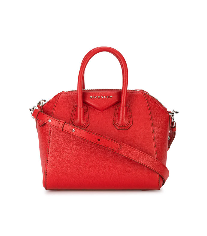 red mini antigona shoulder bag