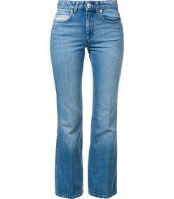 blue high waisted flare jean