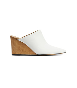 white flora leather mules