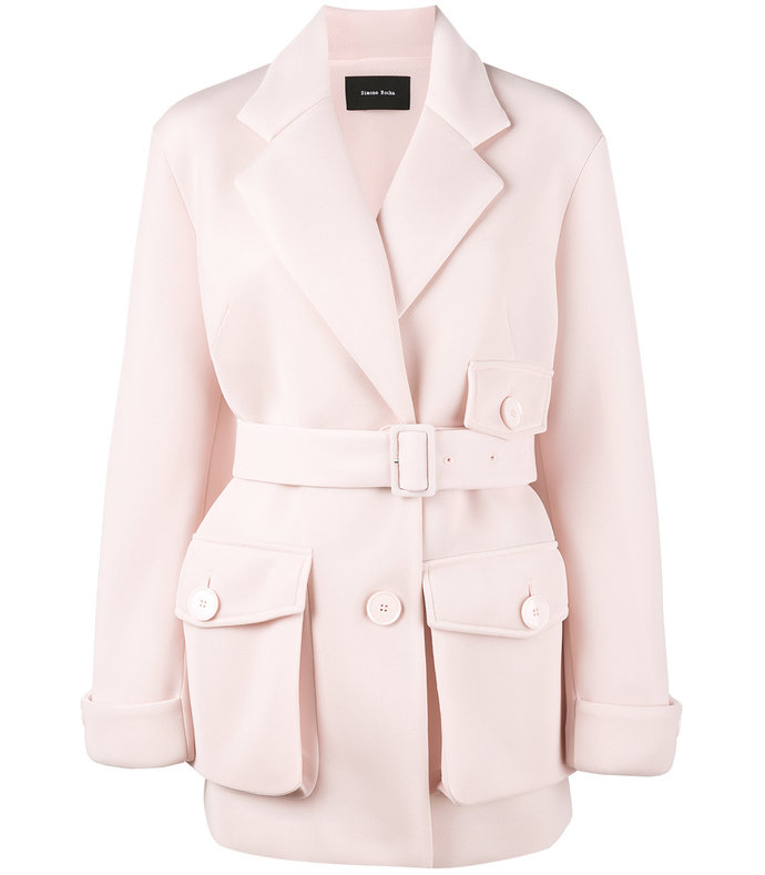 pink scuba belted trench coat