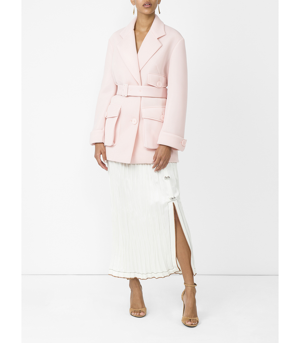 SIMONE ROCHA Pink Scuba Belted Trench Coat in Pink & Purple