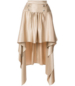 gold megan silk high-low skirt