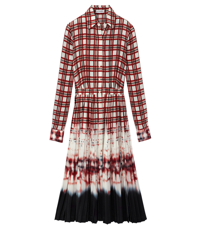 scarlet plaid bleached dress