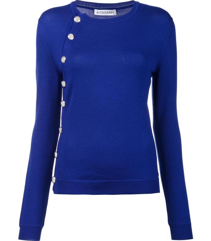 royal blue asymmetric button sweater