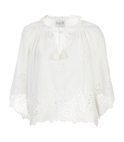 white flutter sleeve perforated top