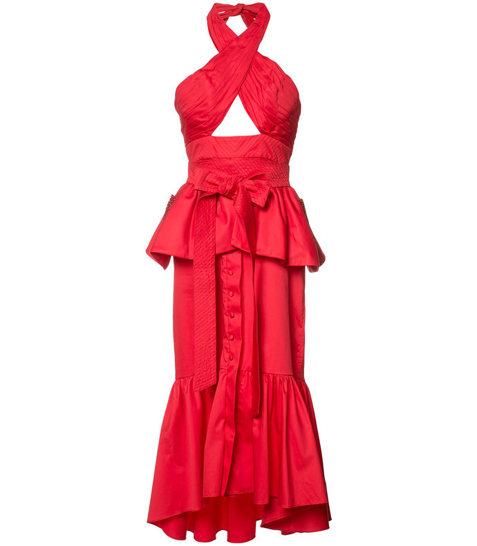 red ruffled halterneck dress