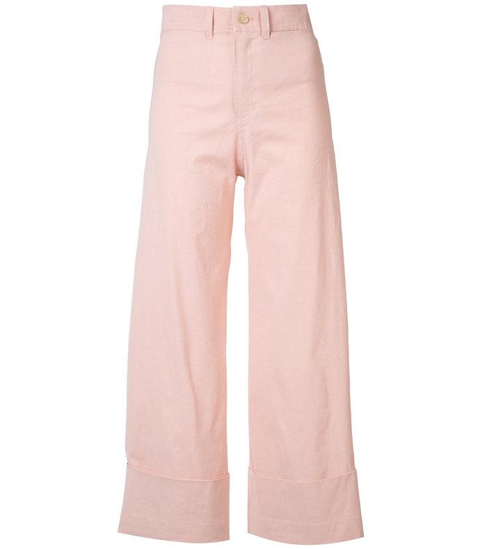 pink wide-leg trouser