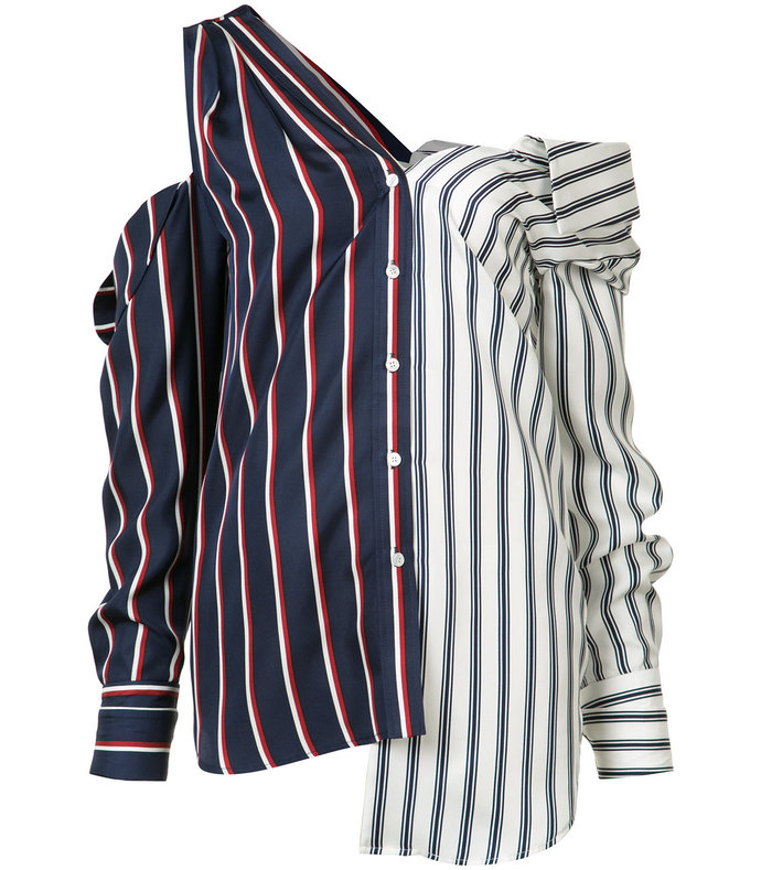 two-tone striped combo blouse