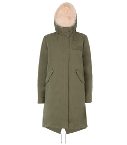 green reversible army fur-lined parka