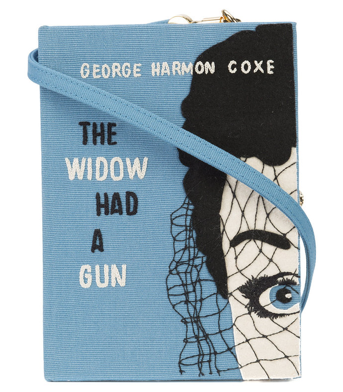 blue the widom had a gun book clutch bag