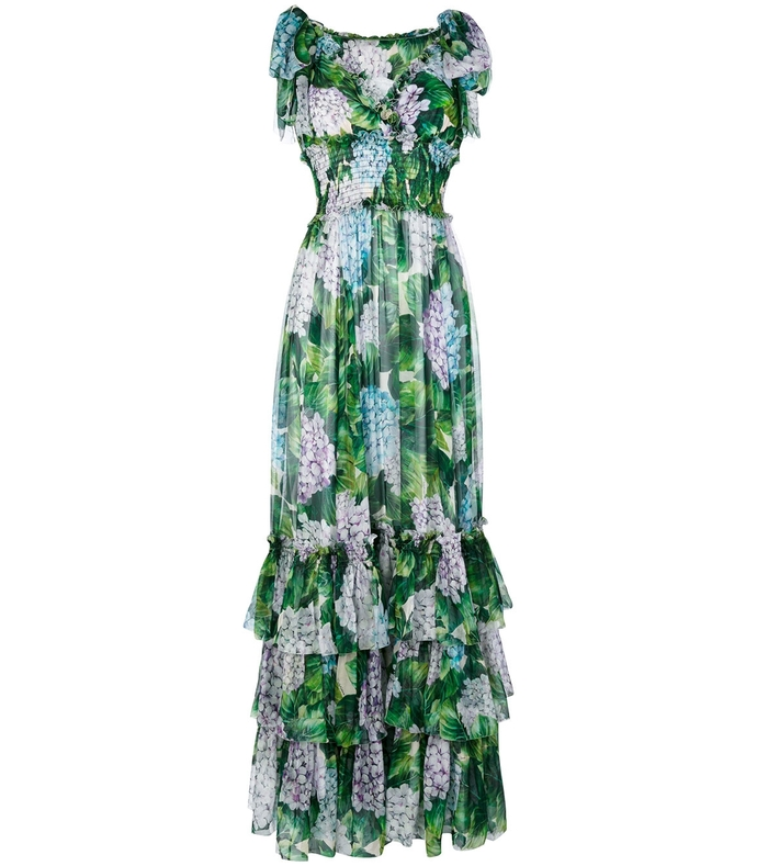 green floral chiffon gown