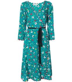 multicolor floral wrap dress