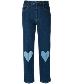 blue cropped heart- embroidered jeans